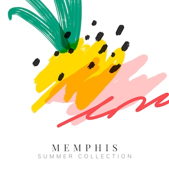 Colorful memphis summer background vector