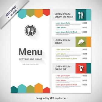 Colorful menu template Free Vector