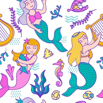 Colorful mermaid characters pattern