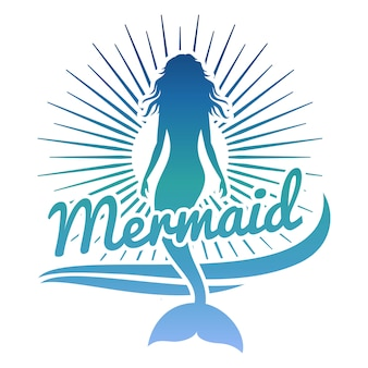 Colorful mermaid silhouette.