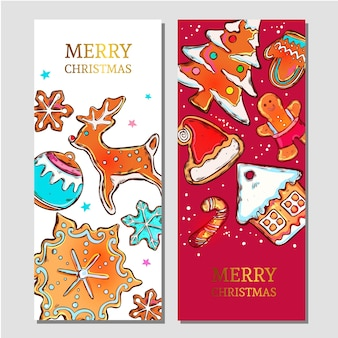Colorful merry christmas banners with ginderbread symbols