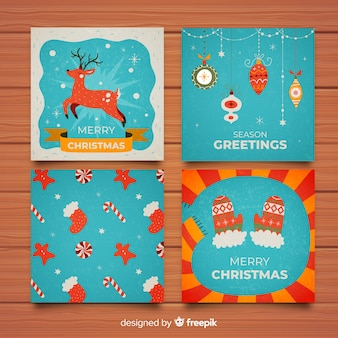 Colorful merry christmas card collection