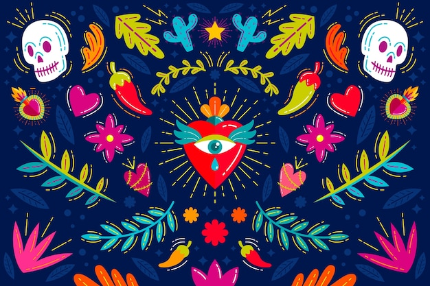 Colorful mexican background concept