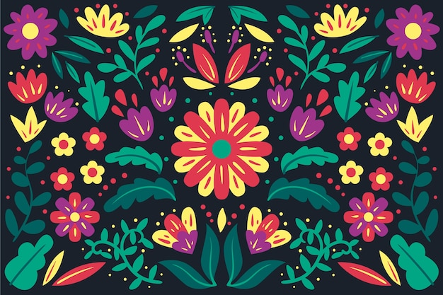 Colorful mexican background in flat design