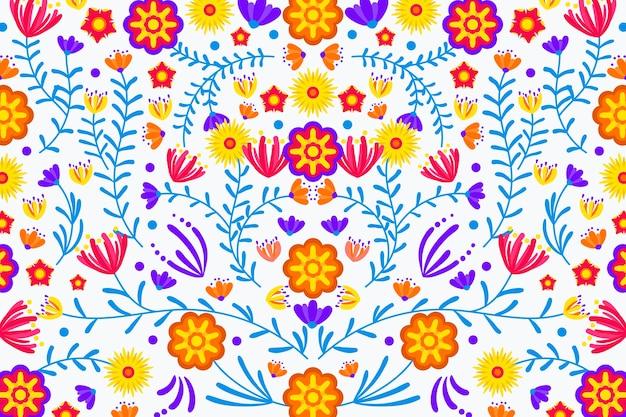 화려한 멕시코 배경 평면 디자인