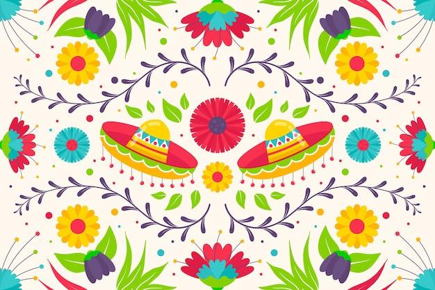 Красочный мексиканский фон плоский дизайн