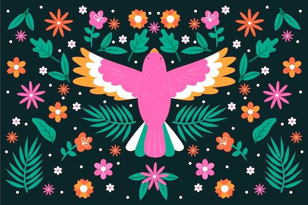 평면 디자인에 화려한 멕시코 배경