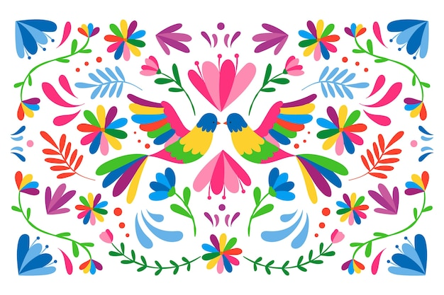 Colorful mexican background with birds