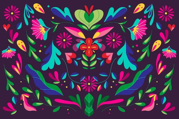 花の装飾品でカラフルなメキシコの背景