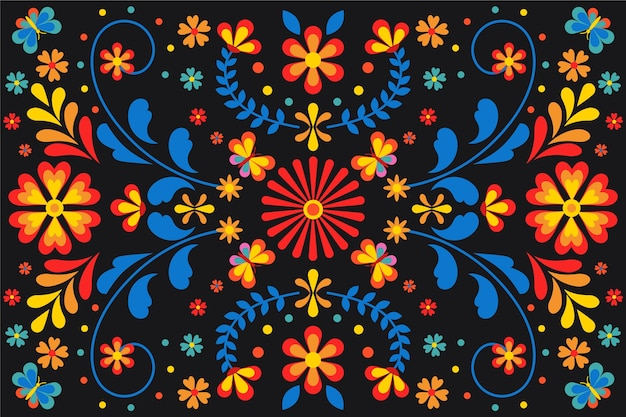 Красочный мексиканский фон с цветами