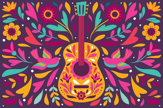 Colorful mexican background with guitar