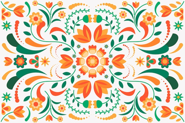 Colorful mexican background with many details