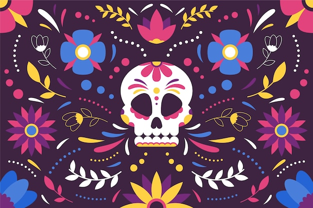 Colorful mexican background with skull
