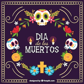 Colorful mexican background with skulls