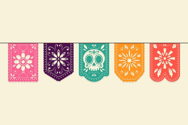 Colorful mexican bunting collection concept