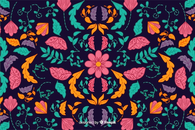 Colorful mexican embroidery background