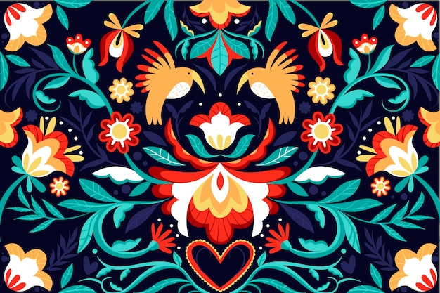 Colorful mexican flat designbackground