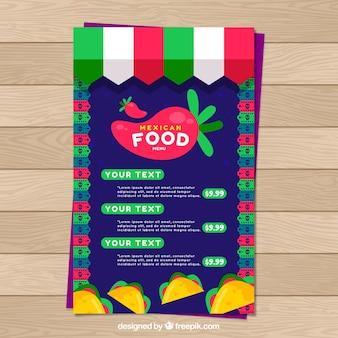 화려한 멕시코 음식 메뉴 템플릿