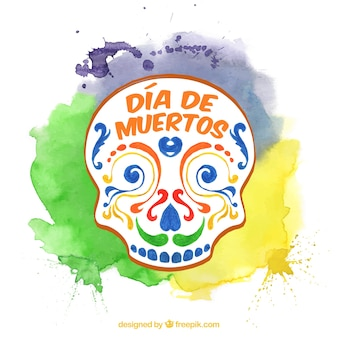 カラフルなメキシコの頭蓋骨の背景