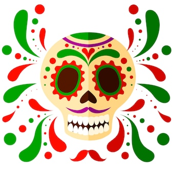 Colorful mexican skull mask. day of the dead skull, cartoon style. sugar skull with floral element.   illustration  on white background
