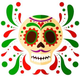 カラフルなメキシコのスカルマスク。死者の頭蓋骨の日、漫画のスタイル。花の要素を持つシュガースカル。白い背景の上の図