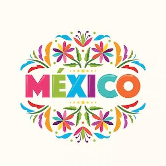 カラフルなメキシコのスタンプです。イダルゴ州テナンゴのテキスタイル刺繍スタイル。メキシコ–コピースペースの花の構成