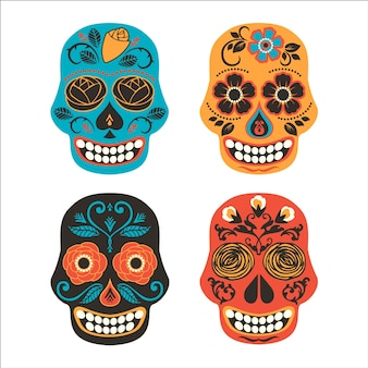 Colorful mexican sugar skulls. day of dead icon