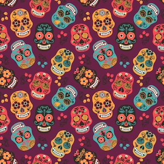 Colorful mexican sugar skulls. seamless pattern.