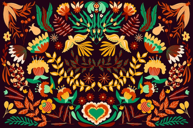 Colorful mexican theme for wallpaper