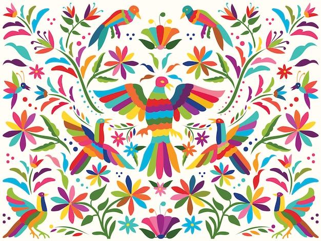 Красочный мексиканский традиционный стиль вышивки на текстиле