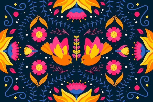 Colorful mexican wallpaper flat design