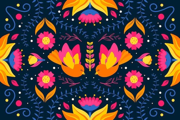 Красочные мексиканские обои плоский дизайн
