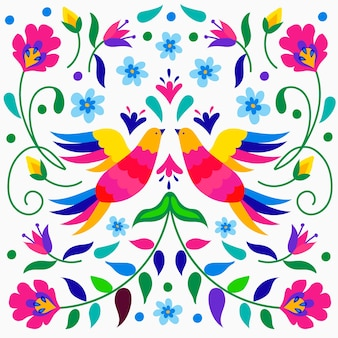 Colorful mexican wallpaper with birds