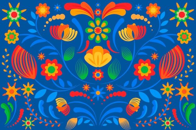 많은 세부 사항이있는 다채로운 멕시코 벽지