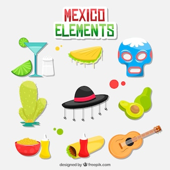 Colorful mexico elements collection