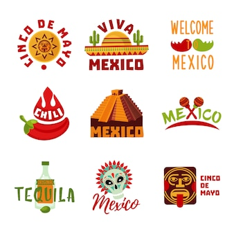 Colorful mexico logotypes set