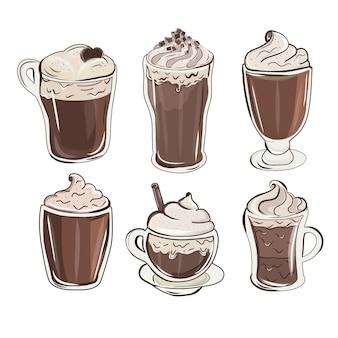 다채로운 밀크 쉐이크 디자인. 귀여운 초콜릿 밀크 쉐이크. 상쾌한 여름 음료 세트. 컵 케이크, 밀크 셰이크, 아이스크림, 핫 초콜릿.