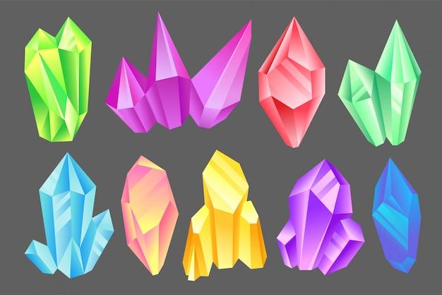 Colorful minerals set, crystals, gems, precious gemstones or semiprecious stones  illustration