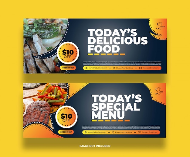 Colorful minimal abstract food restaurant social media post promotion banner