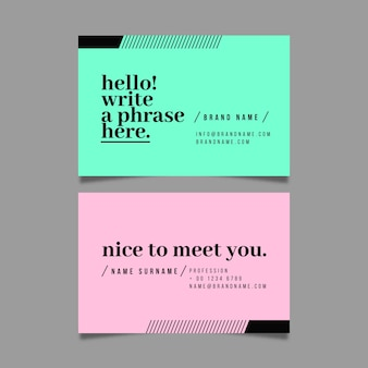Colorful minimal business card pack template