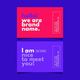 Colorful minimal business card set template