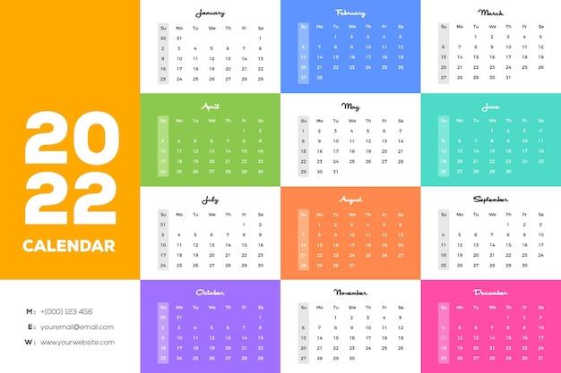 カラフルな最小限のフラット代替月の色風景壁掛けカレンダー