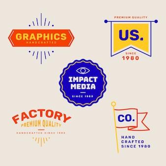 복고 스타일의 화려한 최소한의 로고 컬렉션