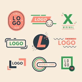 Colorful minimal logo collection in retro style