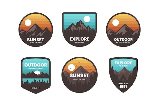 Красочный минимальный пакет логотипов в стиле ретро