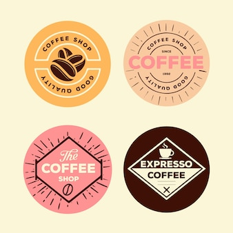 Colorful minimal logo pack in vintage style