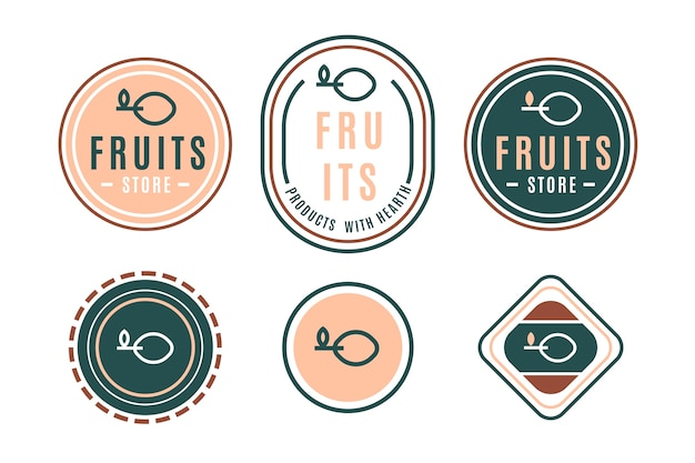 Colorful minimal logo set in retro style