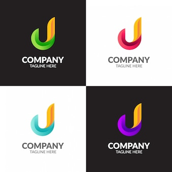 Colorful minimalist letter j logo design