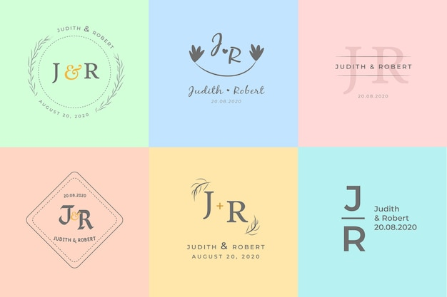 Colorful minimalist wedding monograms in pastel colors