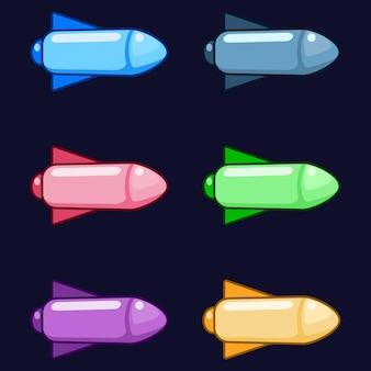 カラフルなミサイルロケット爆弾武器のゲーム資産